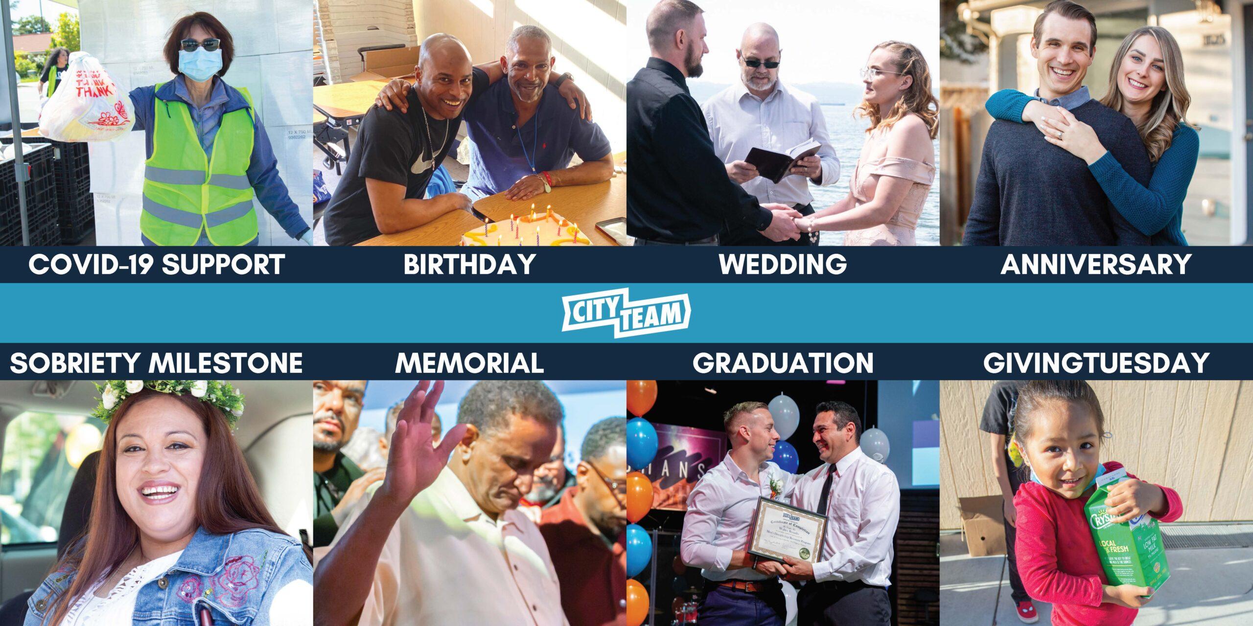 COVID-19 Support, Birthday, Wedding, Anniversary, Sobriety Milestone, Memorial, Graduation, GivingTuesday
